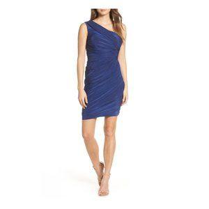 Eliza J Navy Ruched One-Shoulder Dress